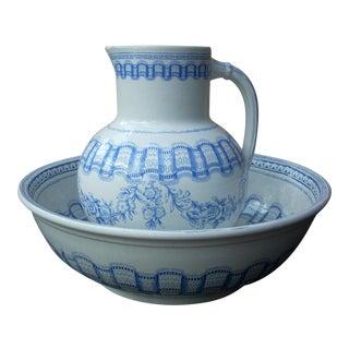 Blue & White Wash Bowl Set