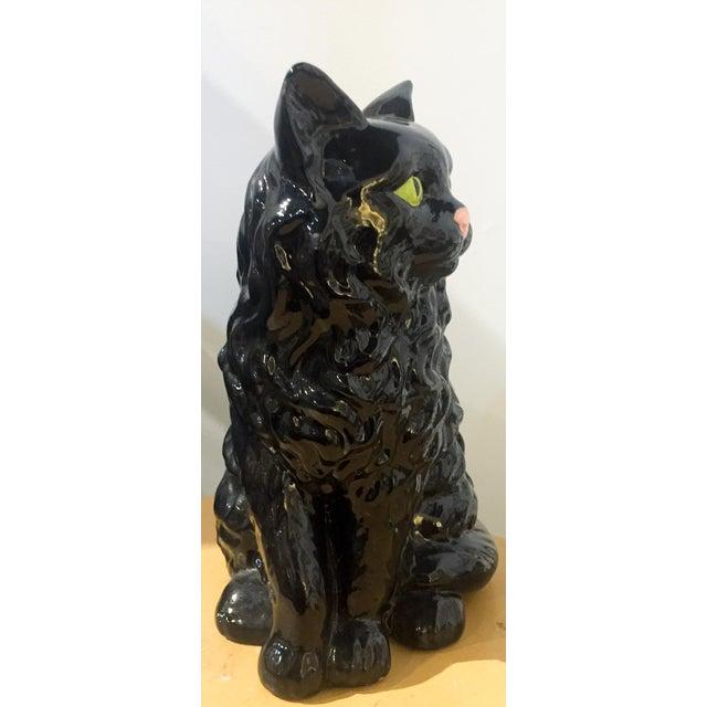 Vintage Ceramic Black Cat Statue - Image 4 of 5