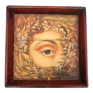 Antique Painted Eye & Wreath Tray