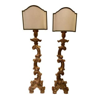Pair of Monumental Gilt-wood Table Lamps