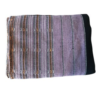 Lavender, Orange & Black Stripe Woven Textile