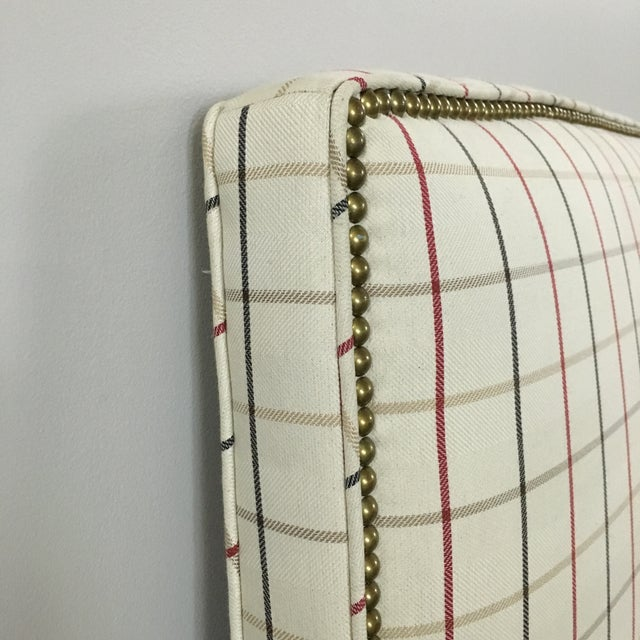 Plaid Nailhead Trim Queen Headboard - Image 6 of 8