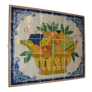 Basket of Fruit Tiled Wall Hanging