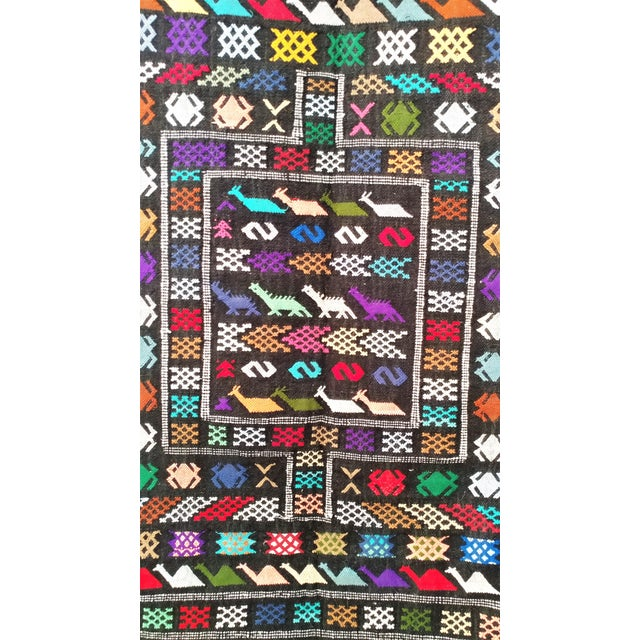 Moroccan Oued Zem Black Cotton Area Rug - 3′ × 4′6″ - Image 3 of 11
