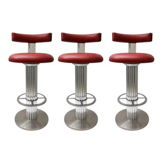 "Set of Three ""Excalibar"" Memory Swivel Bar Stools, Chrome and Leather"