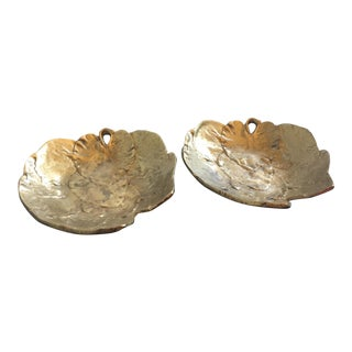 Solid Brass Leaf Catchalls - A Pair