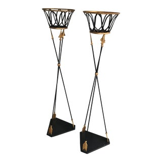 Tole Arrow Plant Stands Jardinieres - a Pair
