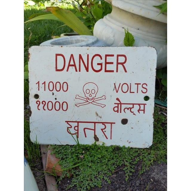 Enamel Beware Electricity Sign - Image 3 of 3