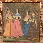 Image of Vintage Painting on Linen From India