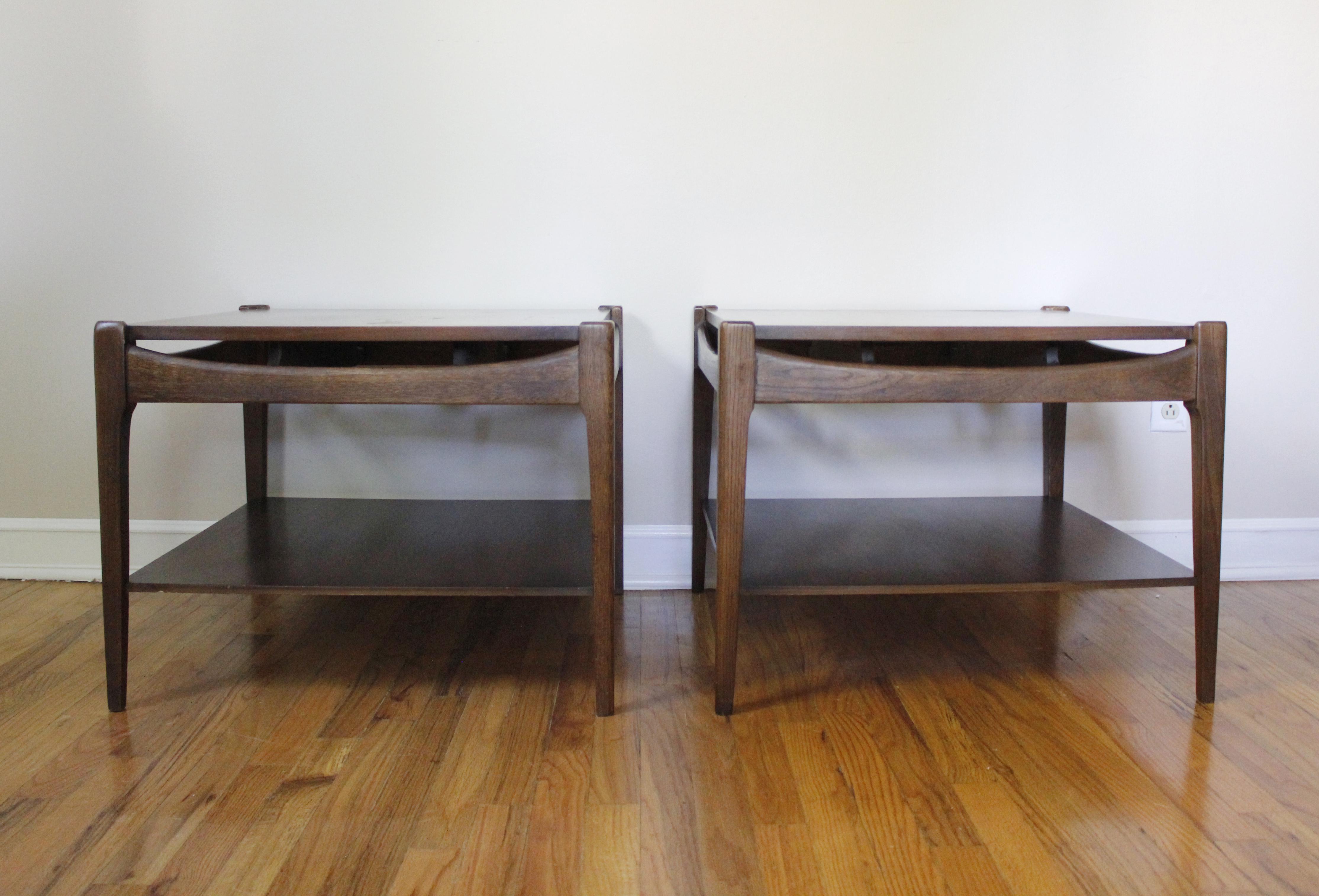 Mid Century Modern Bassett Walnut End Tables Side Tables Square