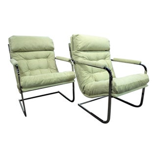 Exceptional Milo Baughman Style Mid Century Cantilever Lounge Chairs