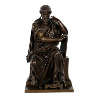 19th Century Antique French Bronze Sculpture of Philosopher by Eugene Laurent