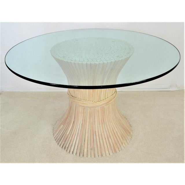 McGuire Wheat Sheaf Bamboo Rattan Dining Table With Thick Round Glass Top Organic Mid Century Modern MCM Millennial - Image 2 of 11