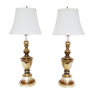 Traditional Brass Lamps & Shades - a Pair