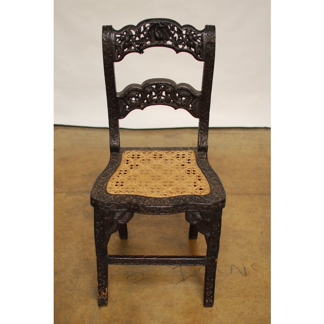 Anglo Indian Carved Rosewood Desk Chair - Image 2 of 7