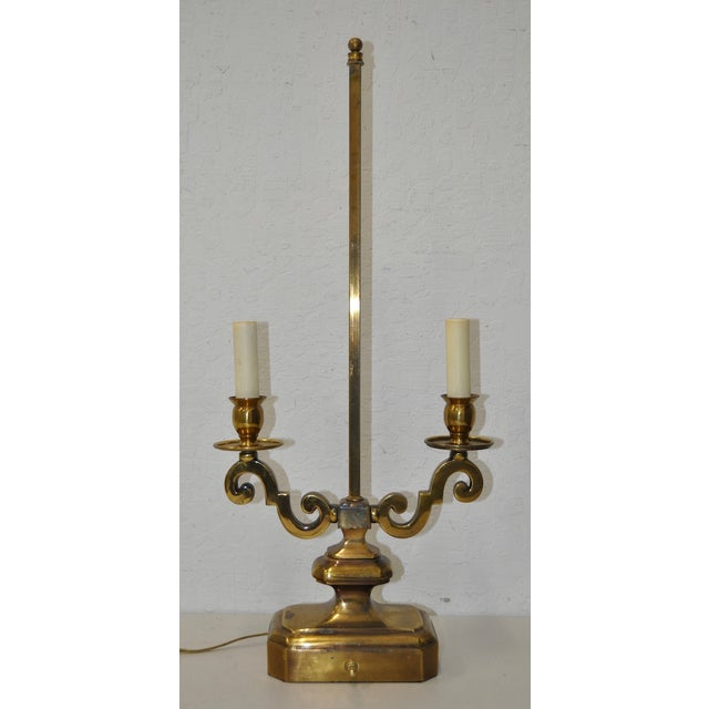 Brass two arm table lamp c1950 chairish for 2 arm table lamp