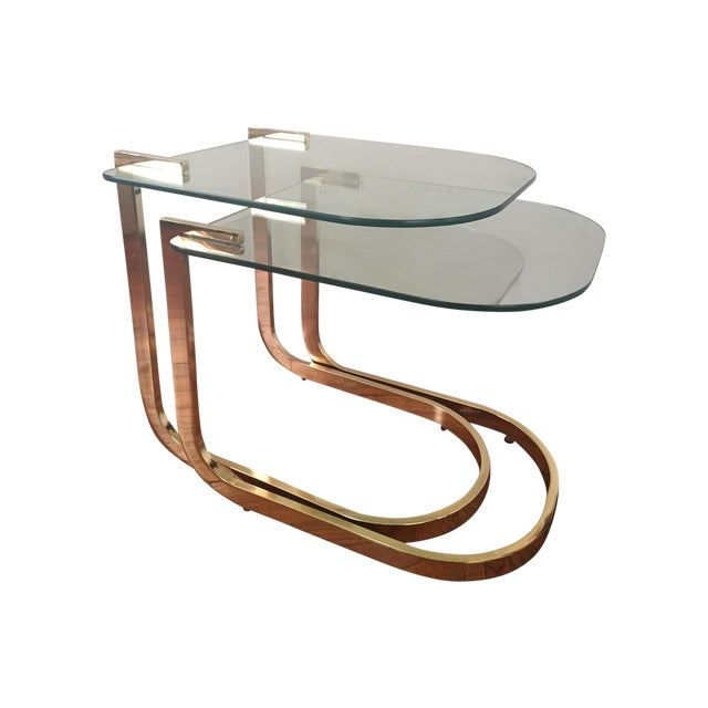 Milo Baughman Cantilevered Brass Nesting Tables - Image 1 of 10