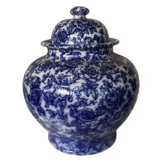 Monumental Flow Blue Covered Jar