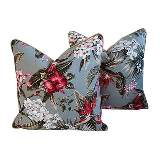 Custom Tropical Floral Barkcloth Pillows - a Pair