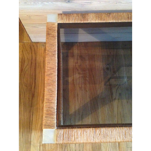 Image of Wicker and Glass Top Coffee Table