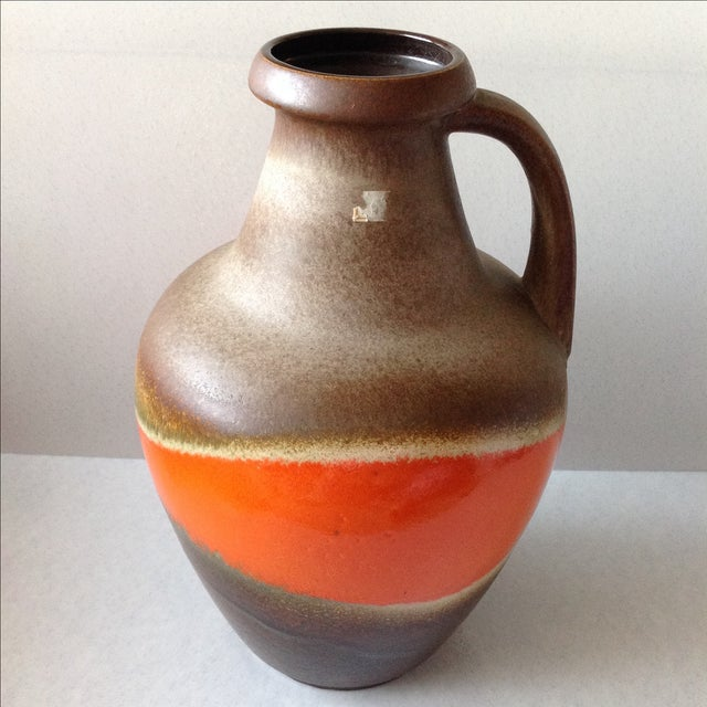 Orange And Brown Fat Lava Floor Vase Chairish