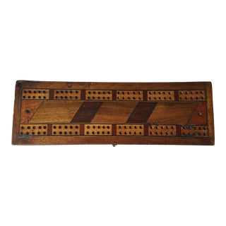 Antique Inlaid Wood Cribbage Game Box
