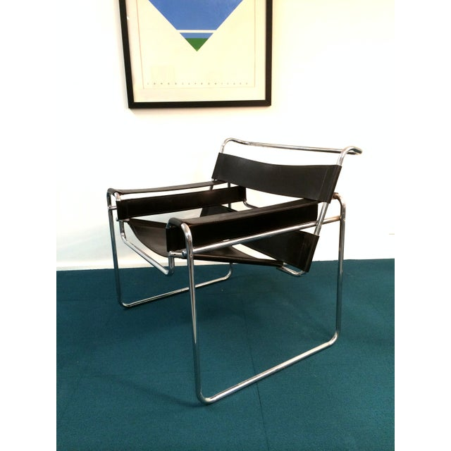 Wassily Style Chair in Black Leather and Chrome - Image 2 of 8