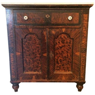Wonderful Antique English Hall Cabinet with Marble Top