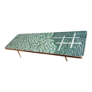 Vintage Green & White Tile Coffee Table