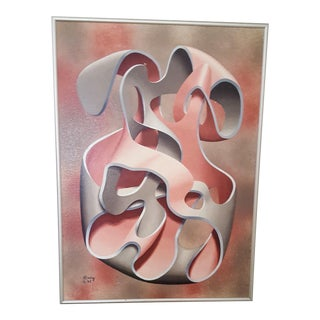 Pink & Grey Abstract Oil Painting