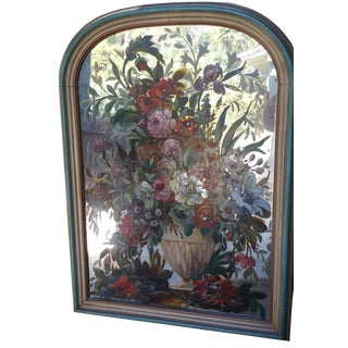 Antique Floral Painted Glass Mirror