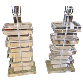 Stacked Lucite Table Lamps - A Pair