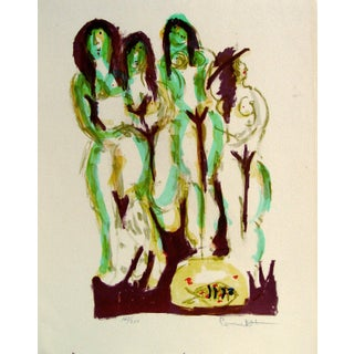 Abstract Nudes With Fish Lithograph