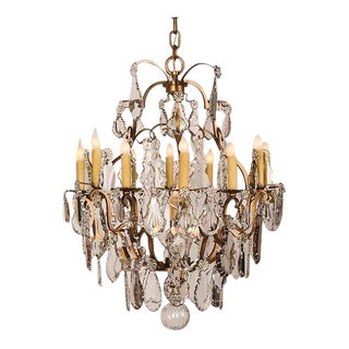 Antique French Louis XV Style Crystal Chandelier with Sixteen Lights circa 1900