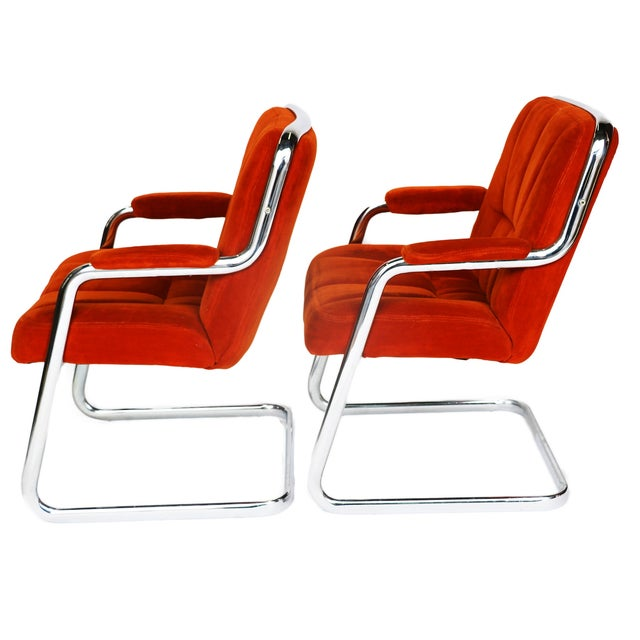 Pair Chrome Milo Baughman-Style Chairs - Image 7 of 10