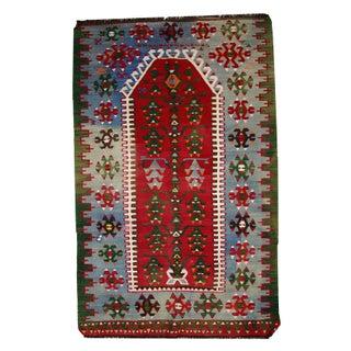 Vintage Turkish Kayseri Kilim Prayer Rug- 3′6″ × 5′6″