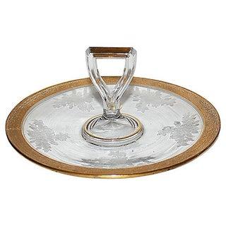 Antique Etched & Gilt Trimmed Serving Platter