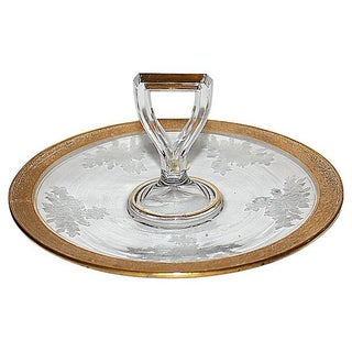 Antique Etched & Gilt Trimmed Serving Platter