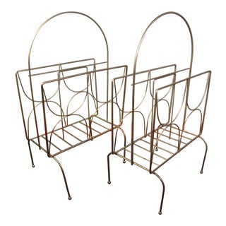 Vintage Gold Regency Wire Magazine Racks - Pair