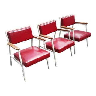 Metal and Vinyl Retro Reception Chairs - Set of 3