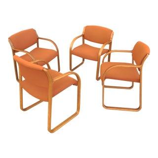 Vintage Steelcase Snodgrass Walnut Chairs - Set of 4