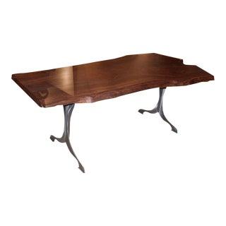 Live Edge Claro Walnut Table With Brushed Steel Legs