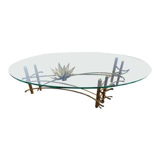 Glass and Gilt Metal Coffee Table Attributed to Silas Seandel