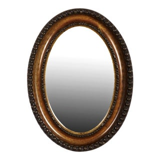 Traditional English Walnut & Ebony Oval Wall Mirror