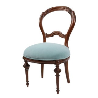Victorian Style Turquoise Velvet Chair