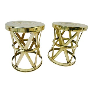Polished Brass X-Base Drum Stools - A Pair