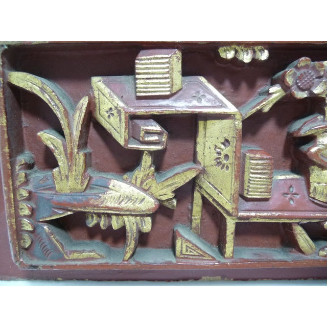 Image of Antique Qing Dynasty Chinese Carved Wood Panel