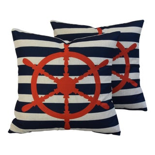 Nautical Beach Ships Wheel Linen Feather/Down Pillows - Pair