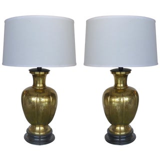 Brass Urn Form Table Lamps - Pair