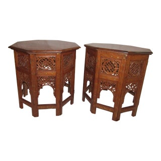 Moroccan Brass Inlay Side Tables - A Pair